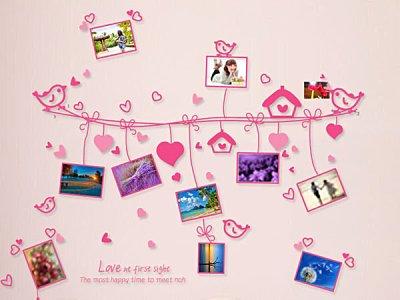 BO雜貨【YV3496】高品質DIY創意牆貼 背景貼 磁磚貼 壁貼 相框牆 照片牆 愛心繩照片牆