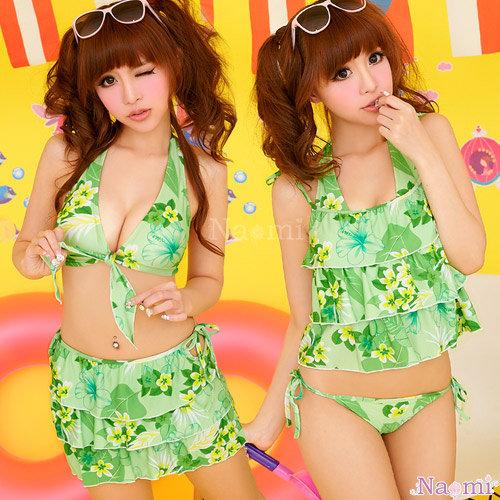 熱帶風情!夏日海灘風四件式泳裝組(綠)A060090-1 ☆艾莉莎☆免運