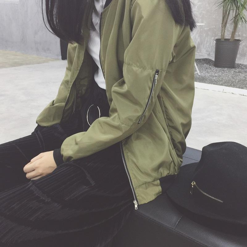 PS Mall 袖子貼口袋拉鍊棒球軍外套【T4128】