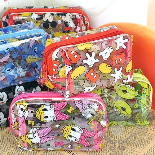 迪士尼米奇米妮黛絲三眼怪史迪奇防水旅行用大容量化妝袋小款041106海渡