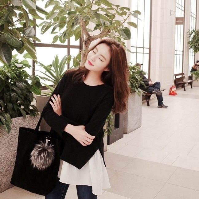 PS Mall 韓版套頭百褶裙擺拼接打低衫長袖T恤【T2327】