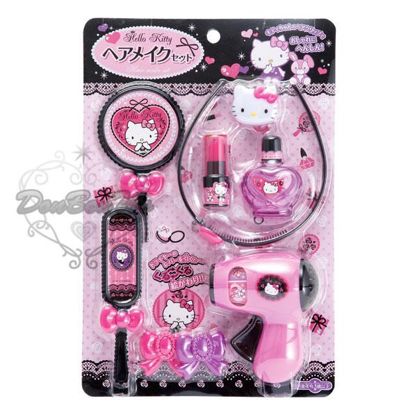 KITTY美髮美妝玩具組髮窟髮束化妝鏡手拿梳4排梳髮夾香水瓶122837海渡