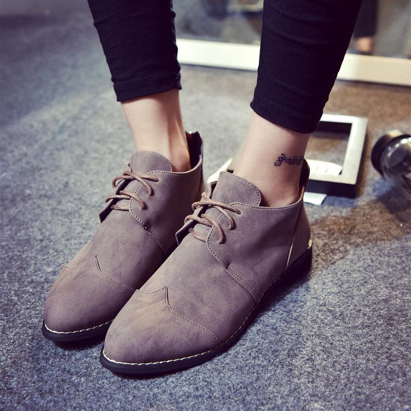 英倫秋冬新款女鞋粗跟復古繫帶尖頭女單鞋百搭馬丁靴牛津鞋平底鞋古著感灰色紳士鞋
