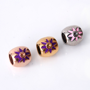 CHARMS 酒桶粉紫花朵串珠  [NT113] 柒彩年代