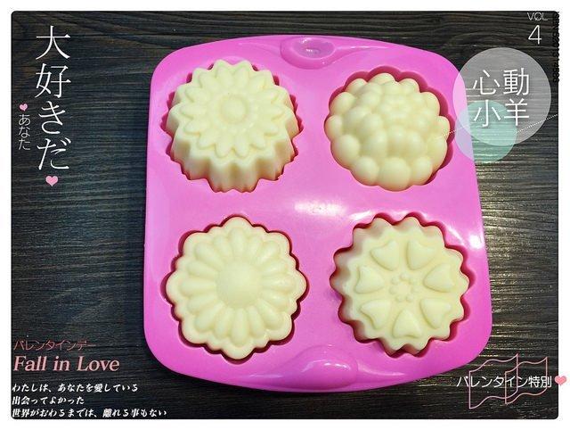 心動小羊^^四款花卉4孔模|巧克力蛋糕烘培食品級矽膠模|專業手工皂模具四孔韓版