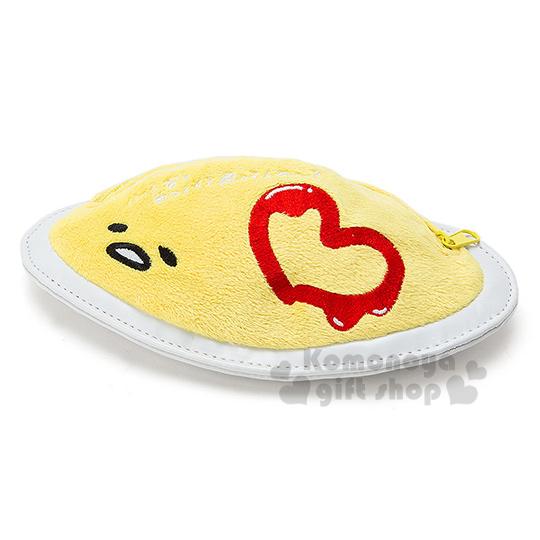 〔小禮堂〕蛋黃哥 蛋包飯造型拉鍊筆袋《黃白.坐姿》搞怪食物系列