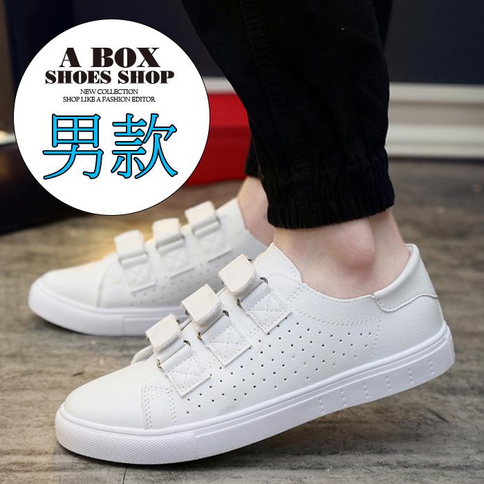 格子舖*【AA8802】男款韓版雜誌穿搭單品 透氣皮革 魔鬼氈沾黏 休閒鞋 板鞋 帆布鞋 黑色/白色 2色