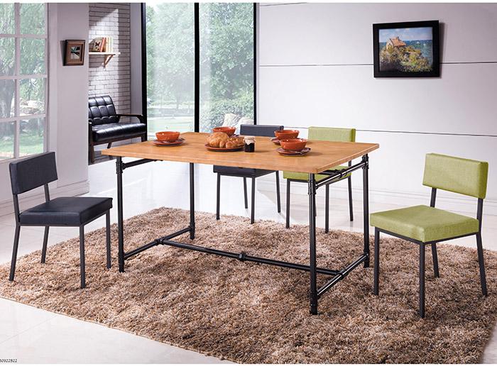 【尚品傢俱】HY-A407-01 艾德5尺水管工業風全實木面餐桌