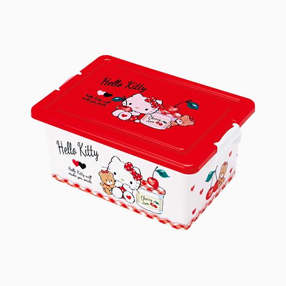 【真愛日本】16091000039    方形收納箱S-KT果醬紅  三麗鷗 Hello Kitty 凱蒂貓   收納盒  置物  日用品