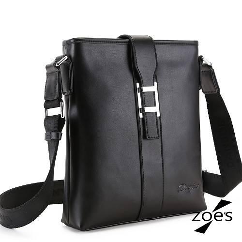【Zoe's】頂級牛皮 商務系列 馬鞍扣環 兩用斜肩包(尊爵黑)