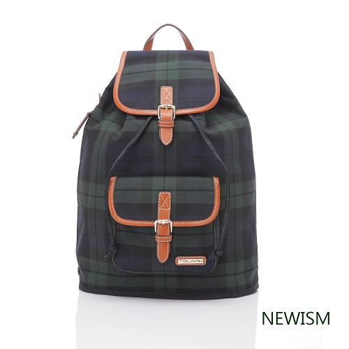 【Newism】原創手作-藍綠格紋 直筒後背包
