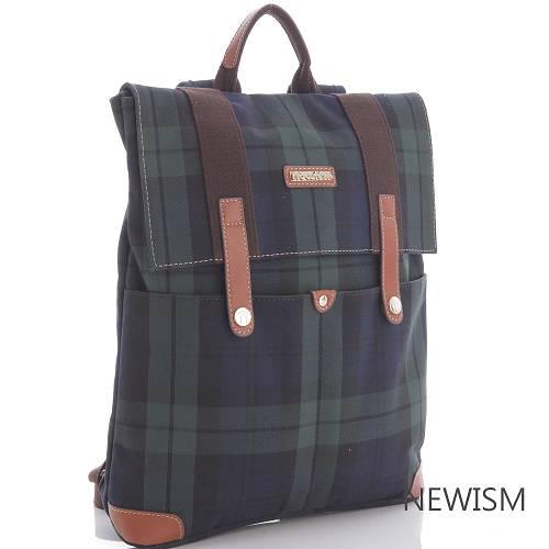 【Newism】原創手作-藍綠格紋 手提後背 雙口袋 掀蓋後背包