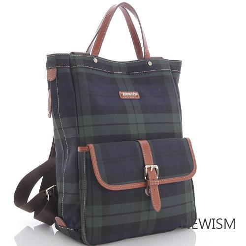 【Newism】原創手作-藍綠格紋 手提後背 兩用直筒後背包