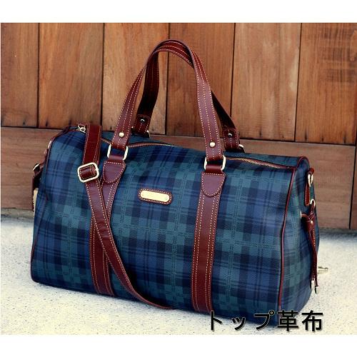 【Milla•Janes米拉.珍妮絲】英倫時尚POLO 藍綠格紋 兩用旅行袋!