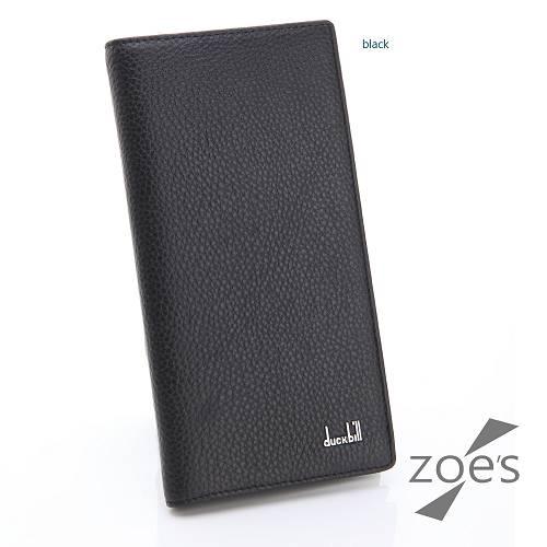 【Zoe's】頂級柔軟小牛皮 荔枝紋 真皮直式長夾(尊爵黑)