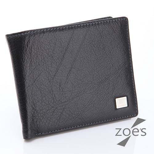 【Zoe's】頂級柔軟小牛皮 掀摺卡片夾 二折短夾(紳士黑)