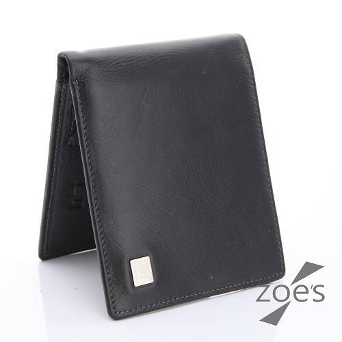 【Zoe's】頂級柔軟小牛皮 隱式卡片夾 真皮二折短夾(紳士黑)