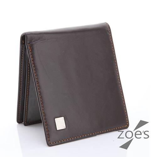 【Zoe's】頂級柔軟小牛皮 隱式卡片夾 真皮二折短夾(品味咖)