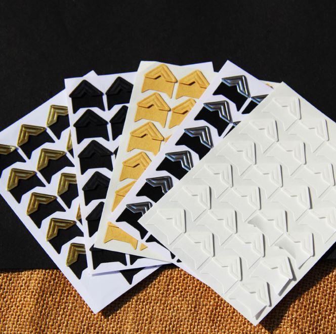 (隨機出貨)創意手工粘貼式DIY相冊專用24枚紙質相片紙質角貼 9元