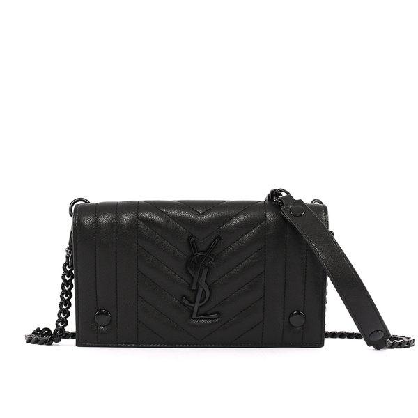 【YSL】monogra皮夾式牛皮鏈帶釦式斜背包(黑色) 440029 BRM08 1000