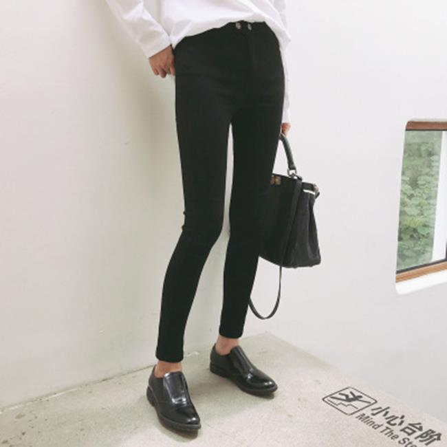 50%OFF【G020000P】韓版兩粒扣可外穿黑色顯瘦大彈力緊身鉛筆褲內搭褲超顯瘦魔術褲