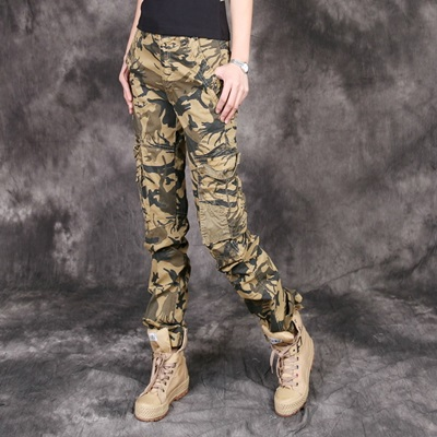 迷彩褲 長褲-多口袋直筒軍裝寬鬆女休閒褲子72u16【獨家進口】【米蘭精品】