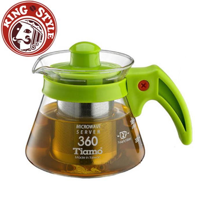 金時代書香咖啡 Tiamo 不鏽鋼濾網 玻璃壺 花茶壺 360cc 綠色