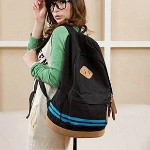 =優生活=韓國流行帆布豬鼻子休閒雙肩包 休閒包 後背包 學生書包