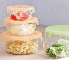 *新品上市*日本知名品牌 HARIO 耐熱 可微波 三入玻璃保鮮盒-現貨-橘/綠