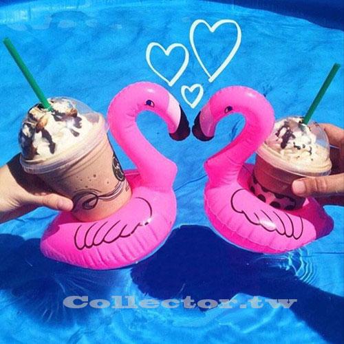 【C16052501】充氣式紅鶴鳥飲料套 游泳池可樂套 火烈鳥充氣杯座 夏日必備