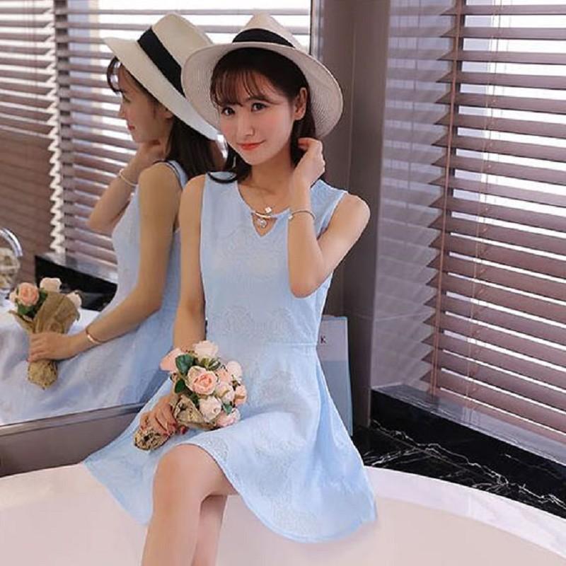[全店免運 700現折$100]    限時五折免運$$490  韓風衣舍 無袖蕾絲收腰顯瘦連身裙 S~2XL