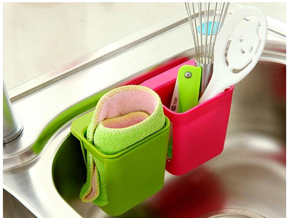 BO雜貨【SV6180】創意廚房置物架 水槽雜物收納盒 吸盤刷子海綿抹布置物架 瀝水架籃