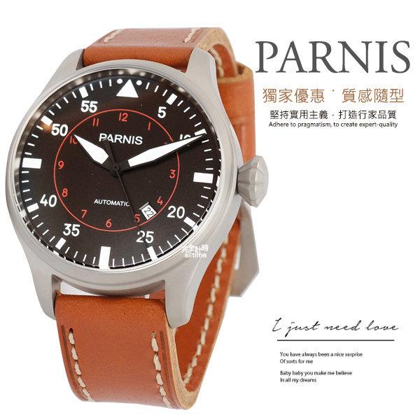 【完全計時】手錶館│PARNIS 瑞典軍錶風格 加厚小牛皮 自動機械錶 PA3078 飛行錶 夜光 紳士 xl 45mm