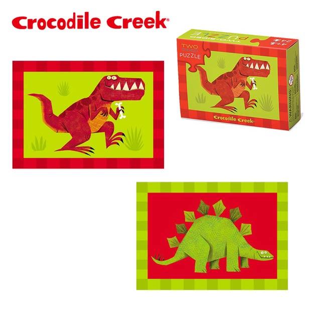 《美國Crocodile Creek》火柴盒雙面拼圖系列-淘氣恐龍(24片)