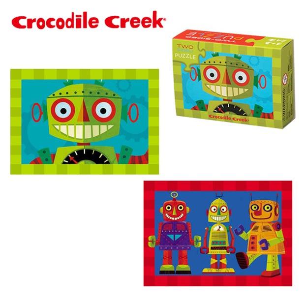 《美國Crocodile Creek》火柴盒雙面拼圖系列-天才機器人(24片)