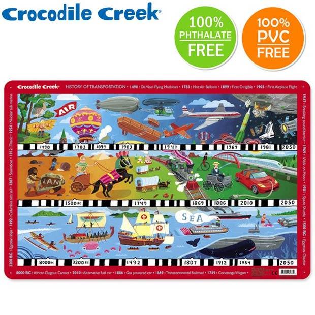 《美國Crocodile Creek》互動式學習餐墊-交通工具演變史