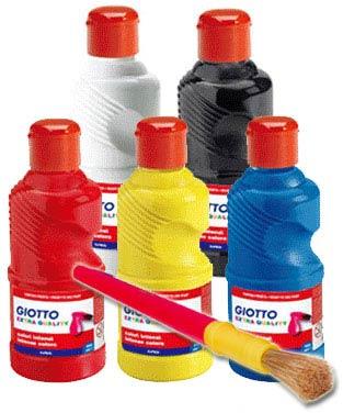 【義大利 GIOTTO】易清洗兒童顏料(五色超值組)+水彩筆刷1支