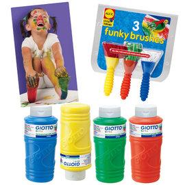 【義大利 GIOTTO】手指膏彩繪派對 (超大容量幼兒安全手指膏4色組+3種不同材質創意顏料刷)