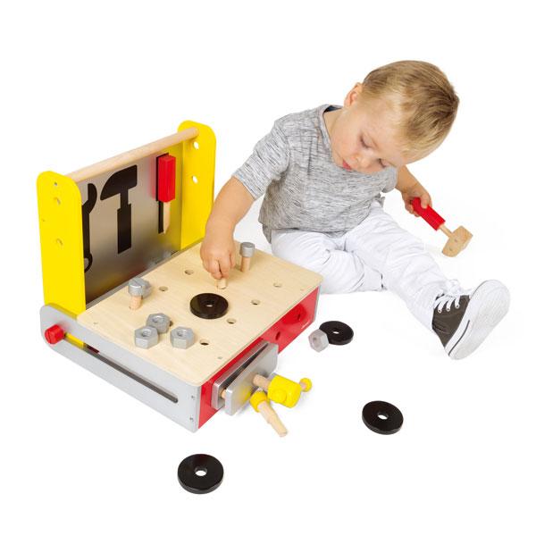 【法國Janod】小木匠創意玩-折疊式手提工作台