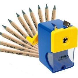 【德國LYRA】兒童三角原木鉛筆超值組@產品內容:兒童三角原木鉛筆(17.5cm)12入+削鉛筆機 ★加贈:LYRA雙孔削筆器1入