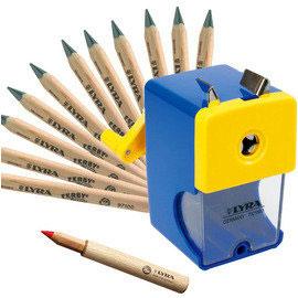 【德國LYRA】兒童三角原木鉛筆超值組@產品內容:兒童三角原木鉛筆(17.5cm)12入+鉛筆延長器+削鉛筆機 ★加贈:LYRA雙孔削筆器1入