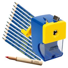 【德國LYRA】兒童三角習字筆超值組 @產品內容:兒童三角習字筆(12入)+鉛筆延長器+削鉛筆機  ★加贈:LYRA雙孔削筆器1入