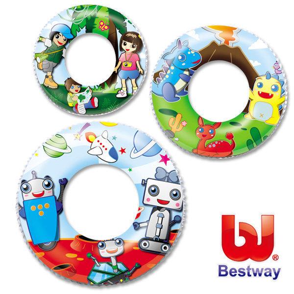 《Bestway》24吋可愛卡通造型充氣泳圈(69-30566 )~三款隨機出貨
