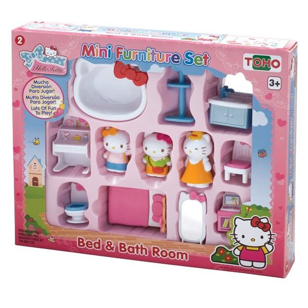 KT迷你家具組--臥室與衛浴/ Mini Furniture Set -Bed & Bathroom / Hello Kitty/ 家家酒