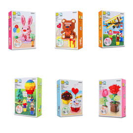 創意主題積木(粉紅小兔/禮物小熊/夢想飛機/熱氣球/杯子蛋糕/花的世界) Oxford/DIY