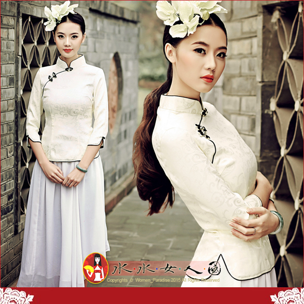 【水水女人國】~復古中國風美穿在身~素色(淺黃)。古典清雅素色質優提花棉料七分袖旗袍式唐裝上衣