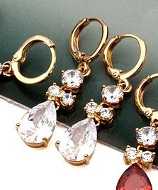時尚水滴閃亮鋯石耳環 ( 玫瑰金) 白鑽/香檳金鑽/粉紅鑽