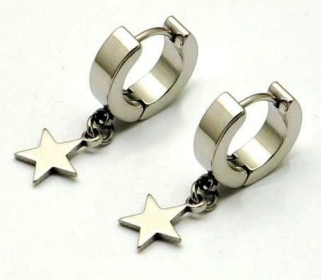 小星星鈦鋼易扣耳環 (針型)(一對) 也可自己DIY修改吊墜部分