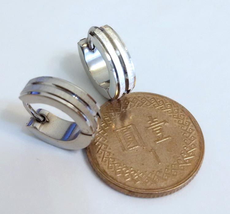 手工拉砂 (一對) 不銹鋼耳環批發耳扣易扣(耳針款)
