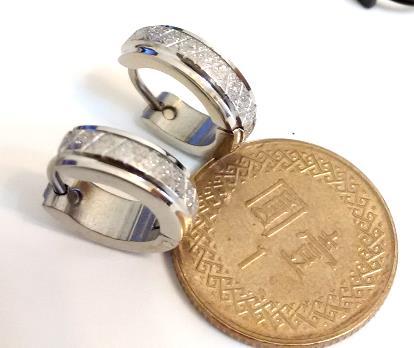 X網鑽砂 (一對) 西德鋼耳環批發耳扣易扣